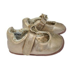 CARTER'S Gold Glitter Soft Stand Shoe 3